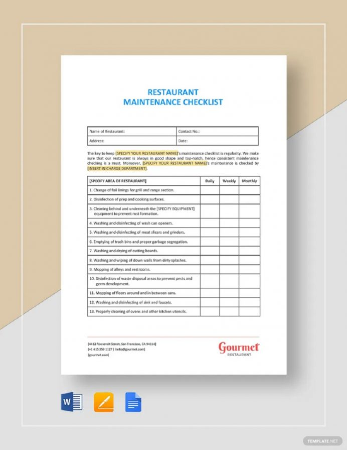 Restaurant Maintenance Checklist Template Sample Checklist Maintenance Checklist Template Examples