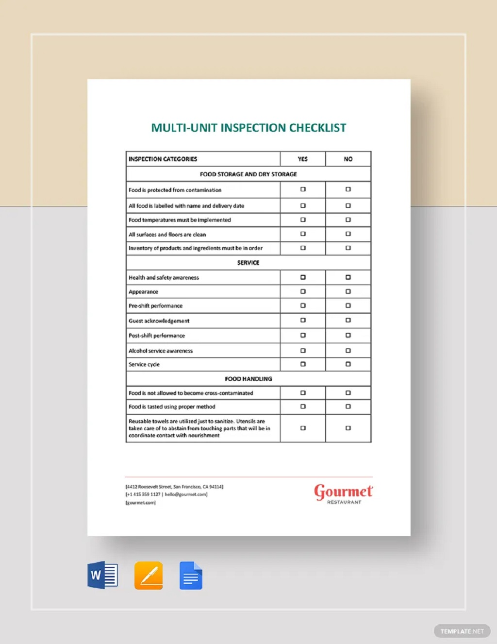 Restaurant Multi Unit Inspection Checklist Form Template Examples Pdf Equipment Machine Workplace General Facility Safety  Large