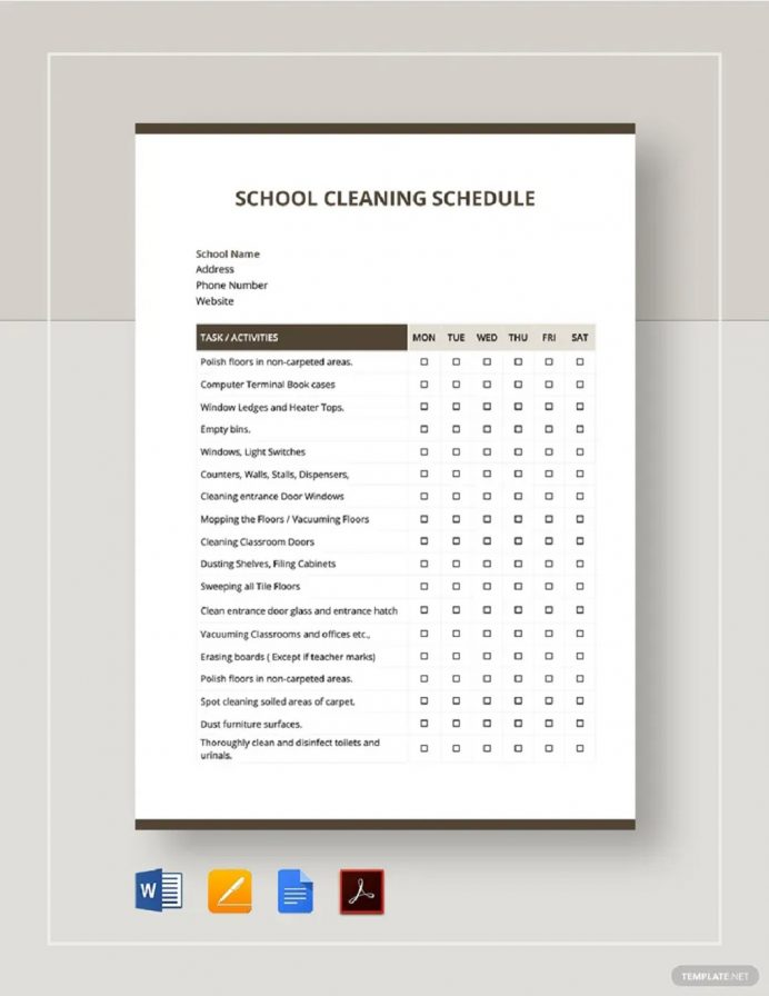 School Cleaning Schedule Template Sample Schedule Cleaning Schedule Template Examples