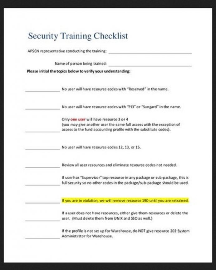 Security Training Checklist Template Sample