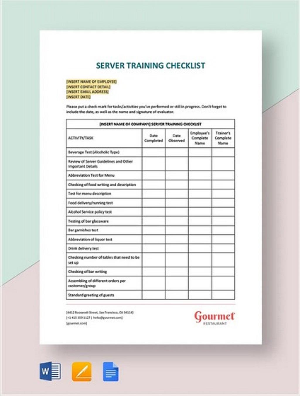 Server Training Checklist Template Employee Word Pdf Google Docs  Samples Large
