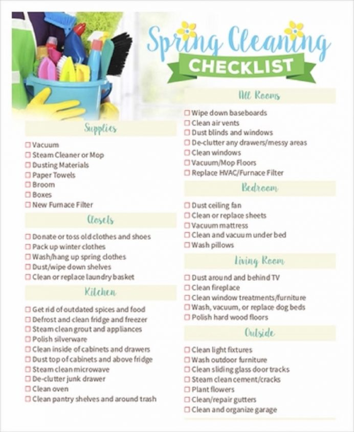 Spring Cleaning Checklist Sample Template Checklist Cleaning Checklist Template Examples