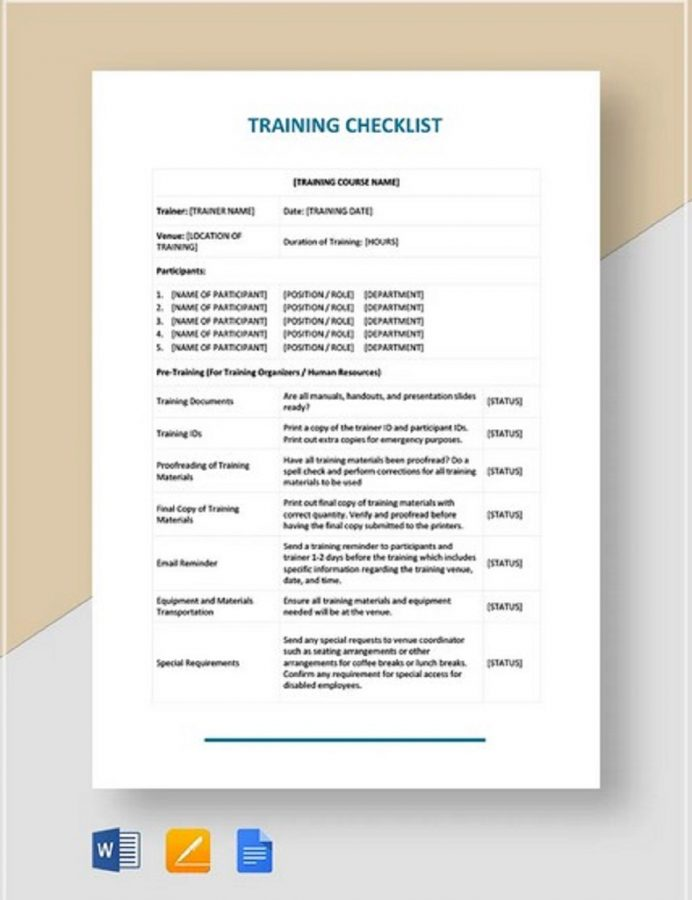 Printable Training Checklist Form Example