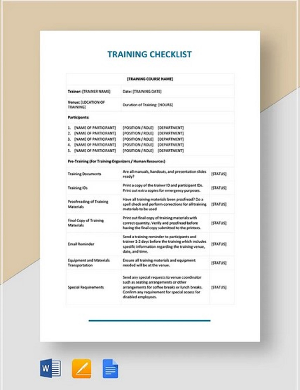 Printable Training Checklist Form Example Employee Word Pdf Template Google Docs  Samples Large