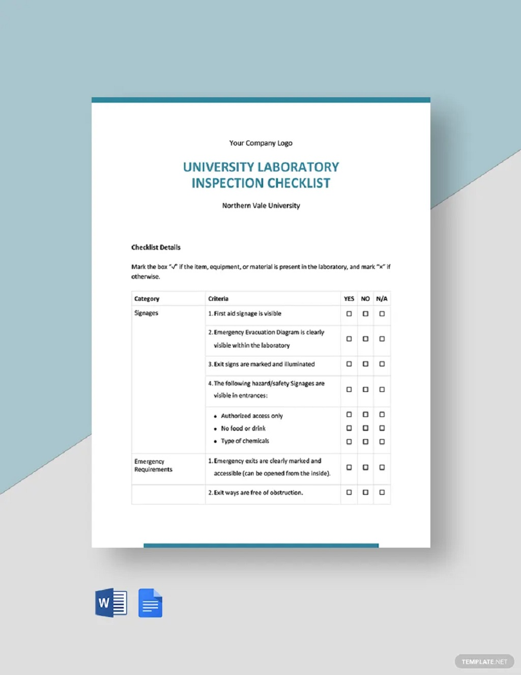 University Laboratory Inspection Checklist Form Template Examples Pdf Equipment Machine Workplace General Facility Safety  Large