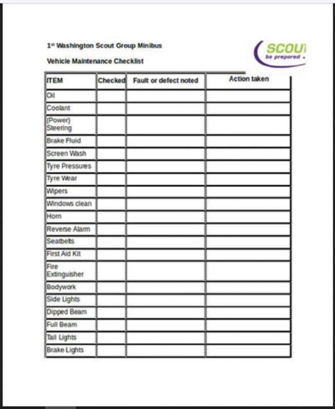 Vehicle Maintenance Checklist Template Sample Checklist Maintenance Checklist Template Examples