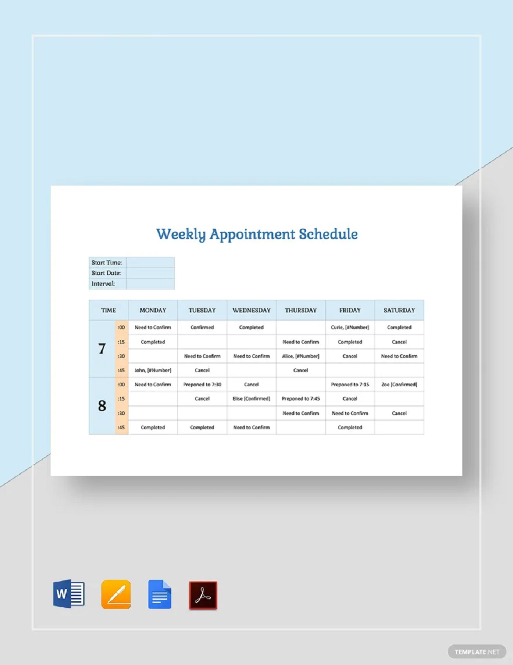 Weekly Appointment Schedule Template Sample Planner Printable Google Sheets Searches Related To Excel  Samples Large