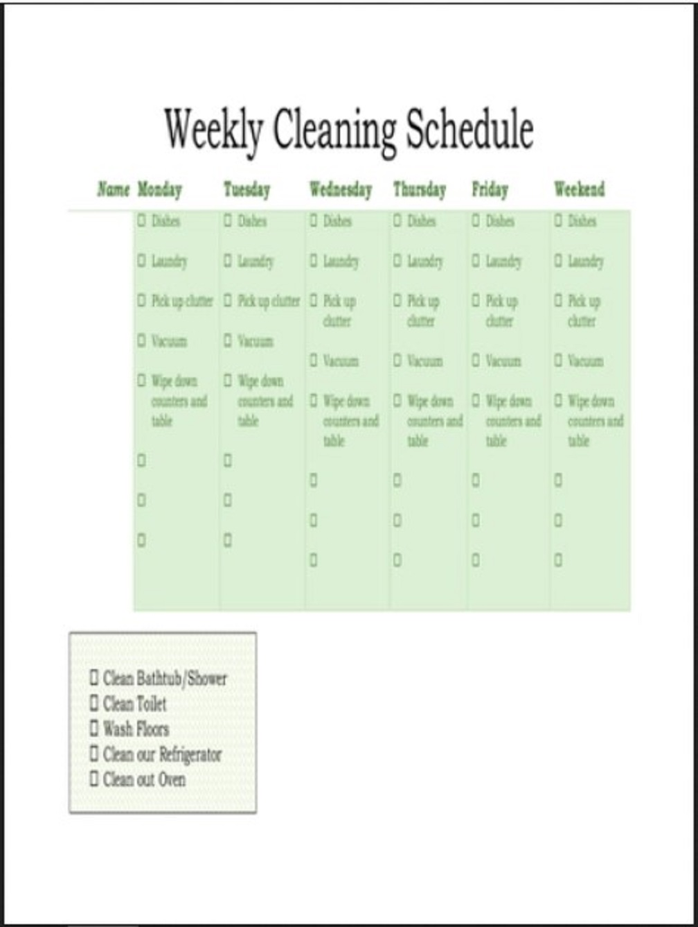 Weekly Cleaning Schedule Template Example Planner Printable Google Sheets Searches Related To Excel  Samples Large