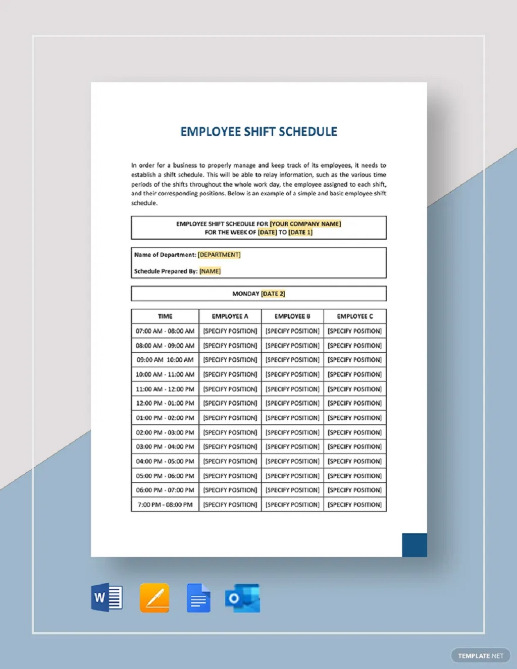 Weekly Employee Shift Schedule Template Sample Planner Printable Google Sheets Searches Related To Excel  Samples Large