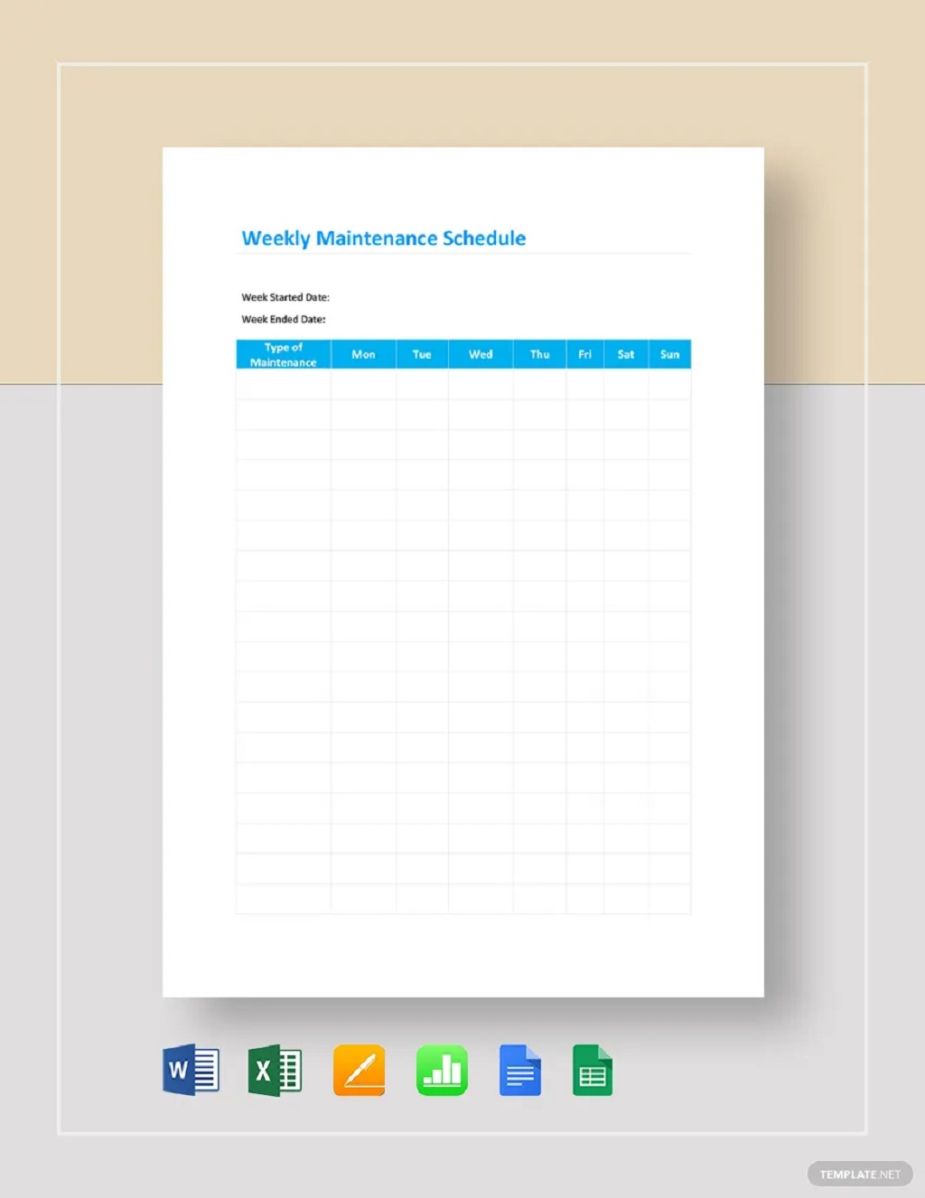 Professional Weekly Maintenance Schedule Template Sample Preventive Car Chart Machine Pdf Excel  Samples Large