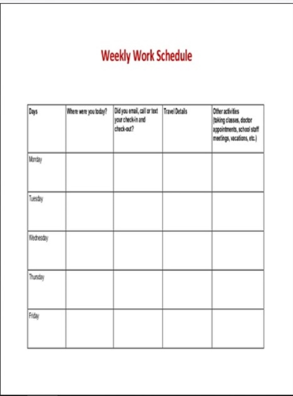 Weekly Work Schedule Sample Template Planner Printable Google Sheets Searches Related To Excel  Samples Large