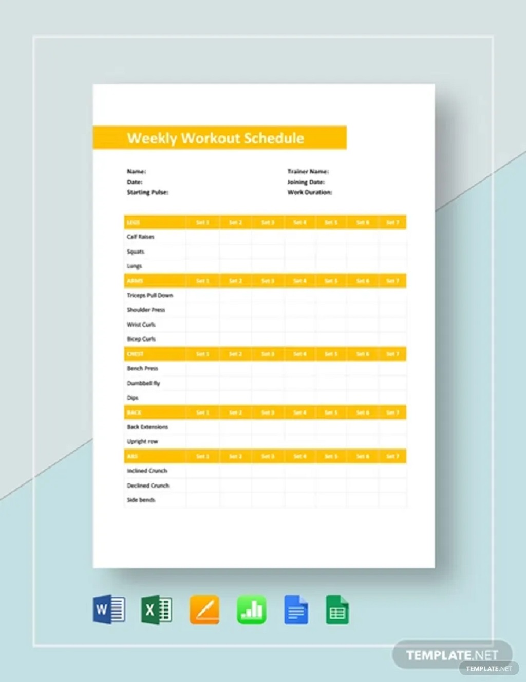 Weekly Workout Schedule Template Sample Planner Printable Google Sheets Searches Related To Excel  Samples Large