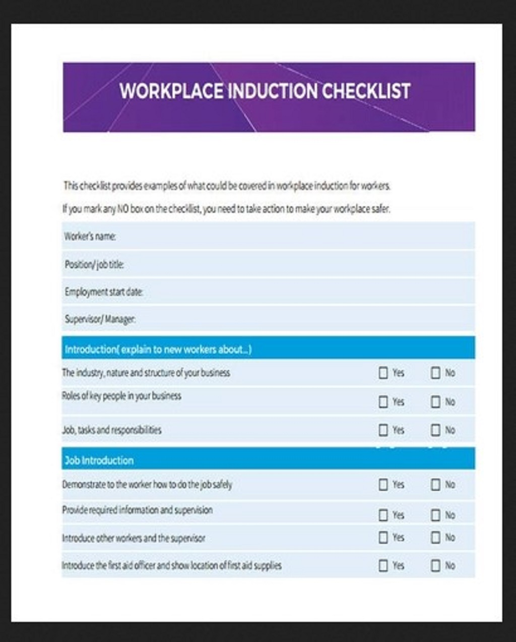 Workplace Induction Checklist Template Example Purpose Word Hr Pdf  Examples Large