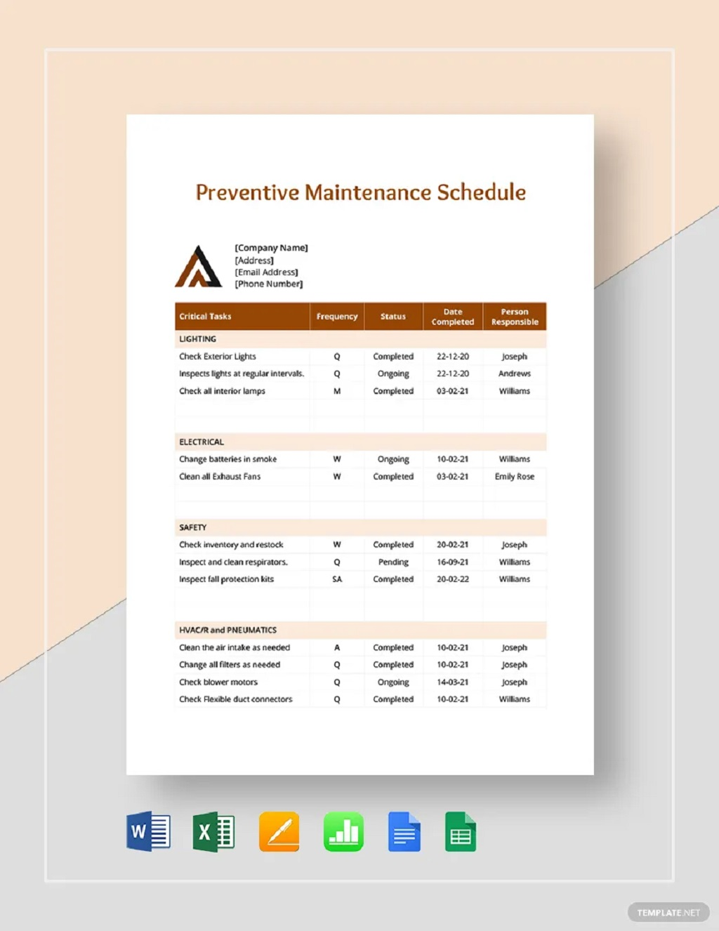 Professional Preventive Maintenance Schedule Template Sample Car Chart Machine Pdf Excel  Samples Large