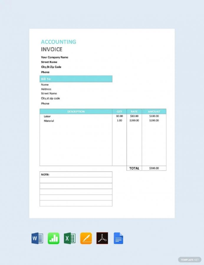 Accountant Service Invoice Form Invoice Accountant (CPA) Invoice Template