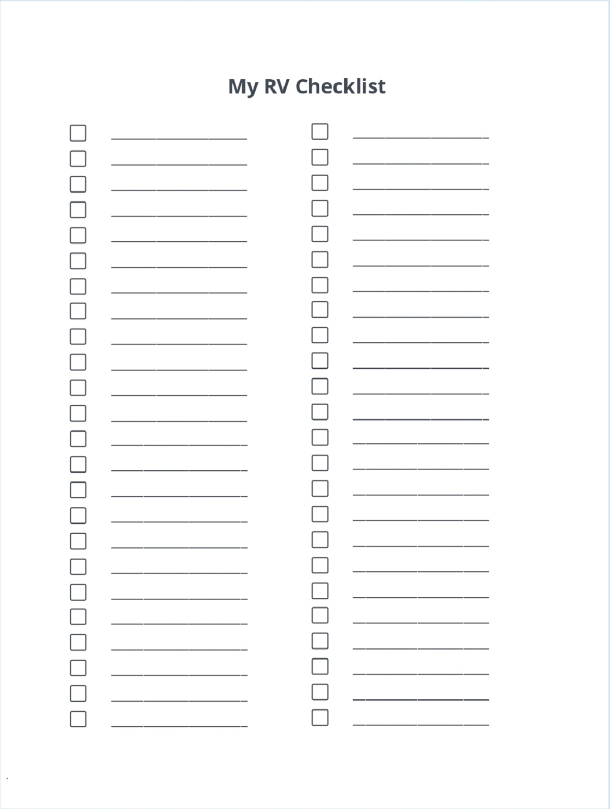 Blank RV Camping Checklist Template
