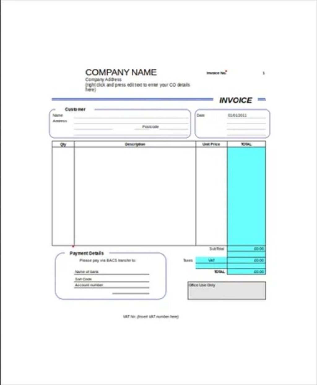 Blank Self Employed Invoice Template Sample Example