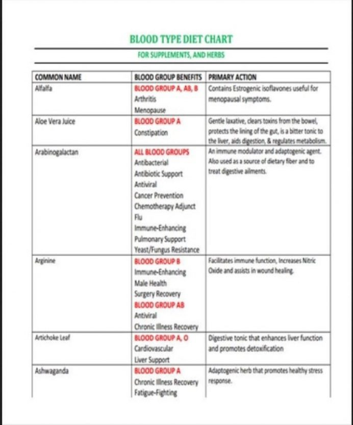 Blood Type Diet Chart Template Form Example Sample Meal Plan Food Word Charts Balanced Pdf  Samples