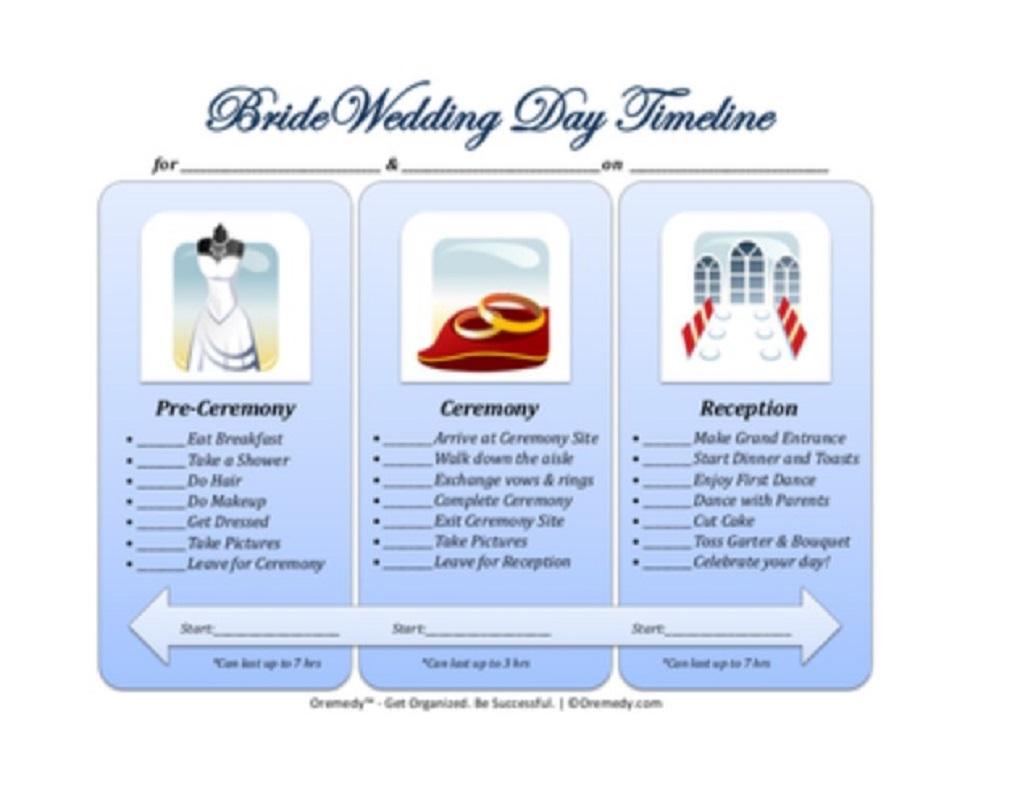 Bride Wedding Day Timeline Template