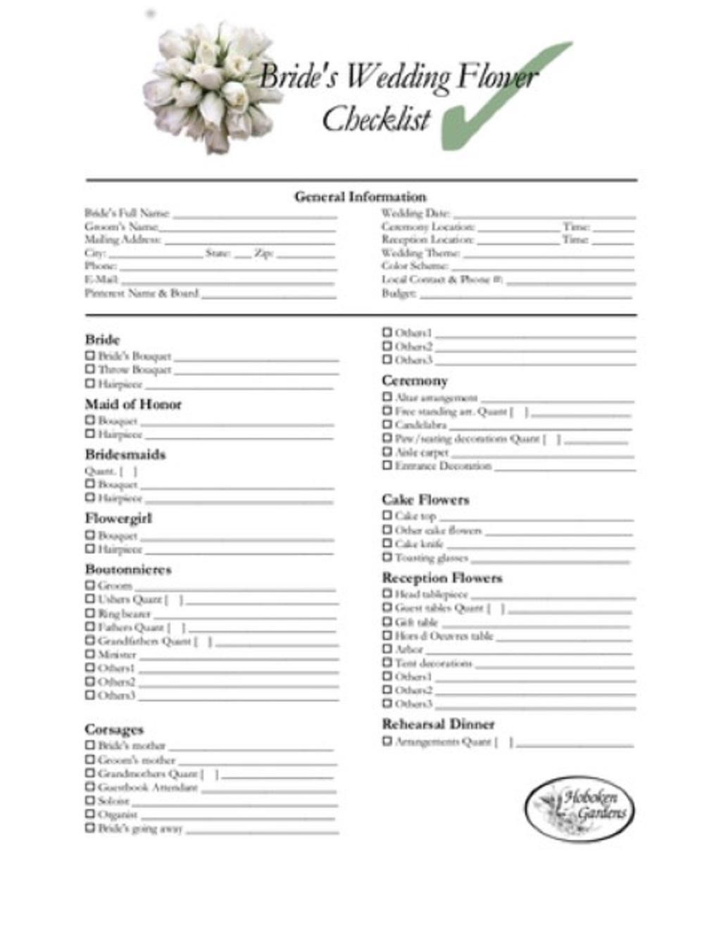 Bride Wedding Flower Checklist Template Example Sample