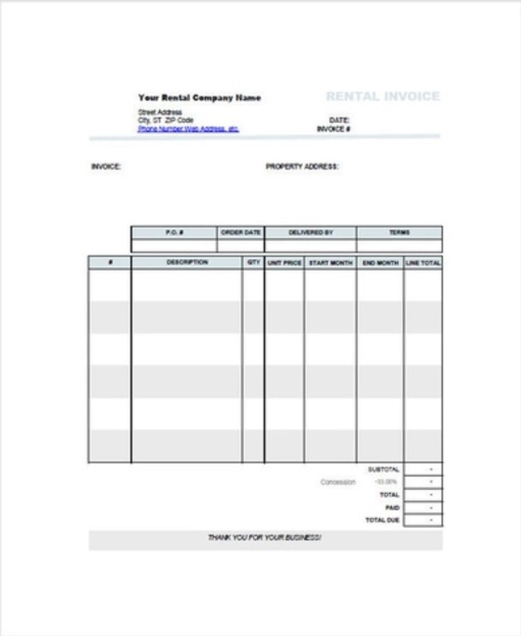 Car Rent Invoice Template Format Sample Example