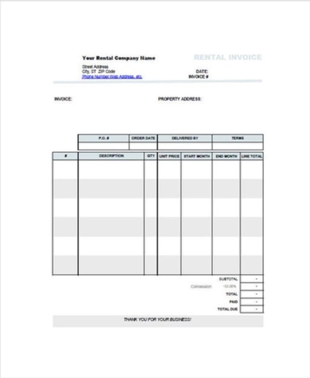 Free Car Rental Invoice Template