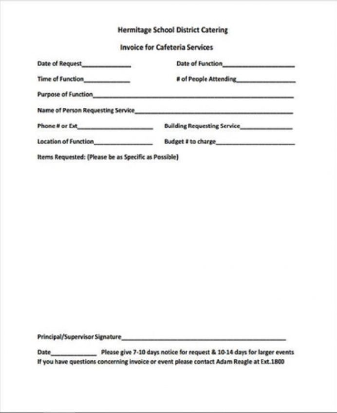Catering Service Invoice Form Invoices Template Pdf Doc How To Write A Free  Sample