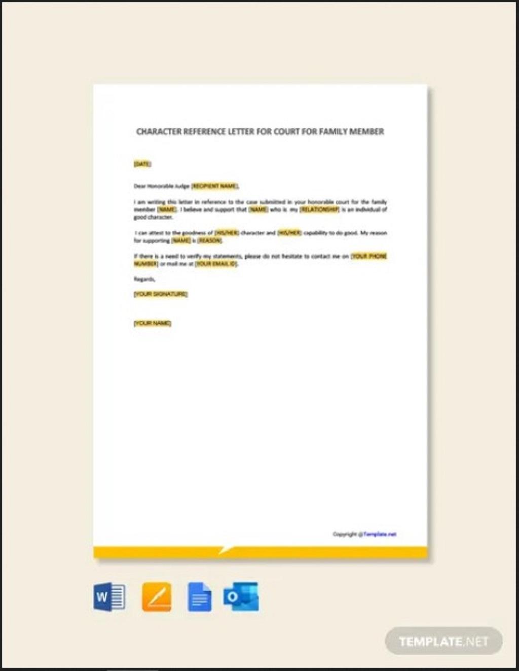 Character Letter for Court for Family Member