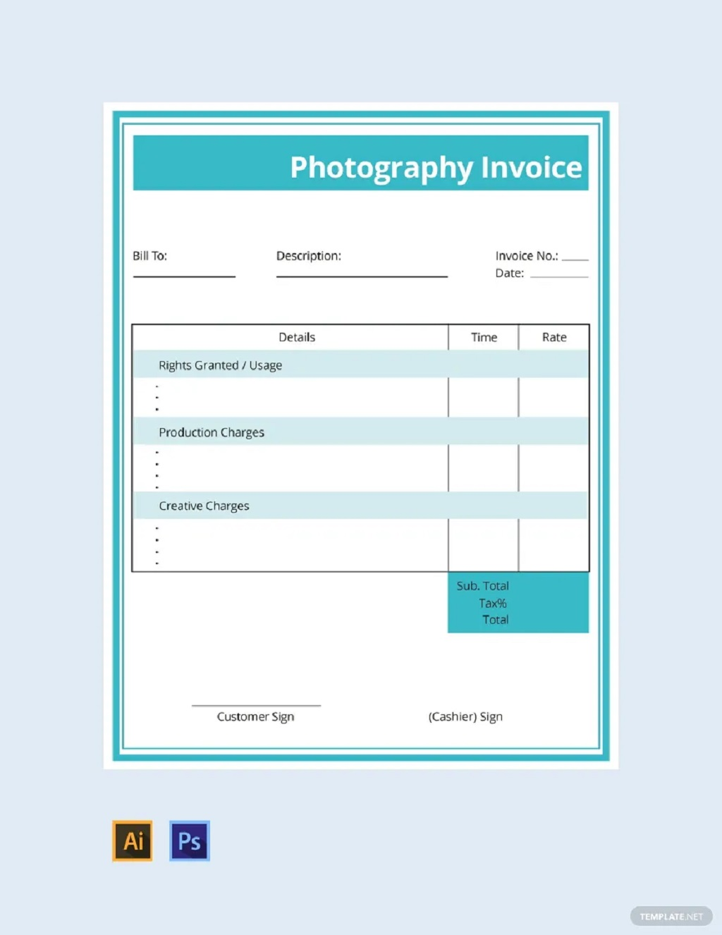 Commercial Photography Invoice Template