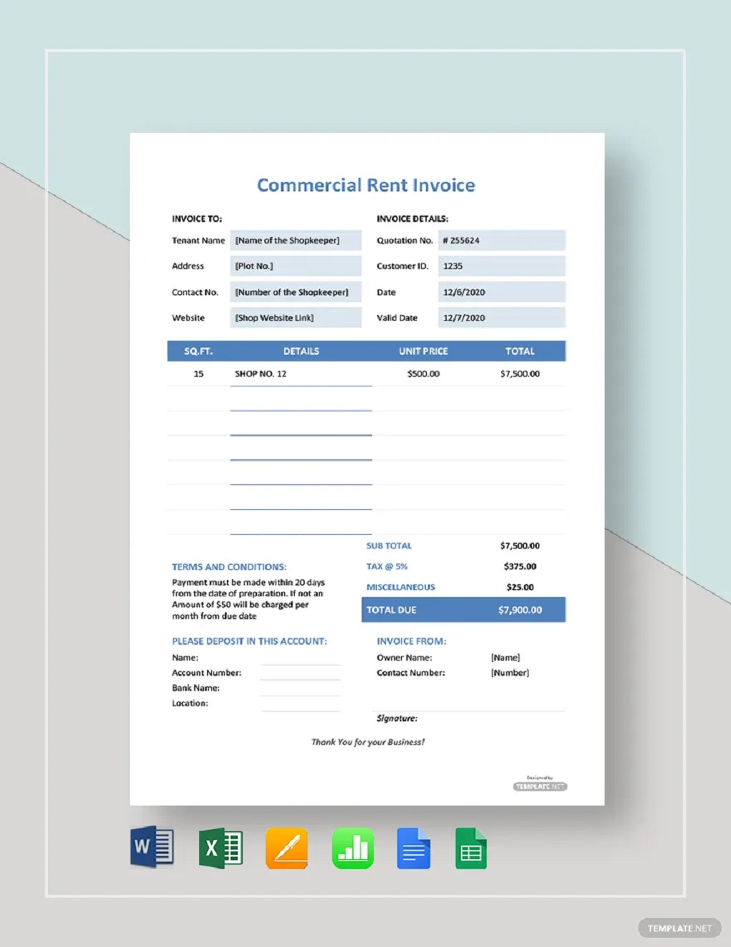 Commercial Rent Invoice Template Format Form Example Sample