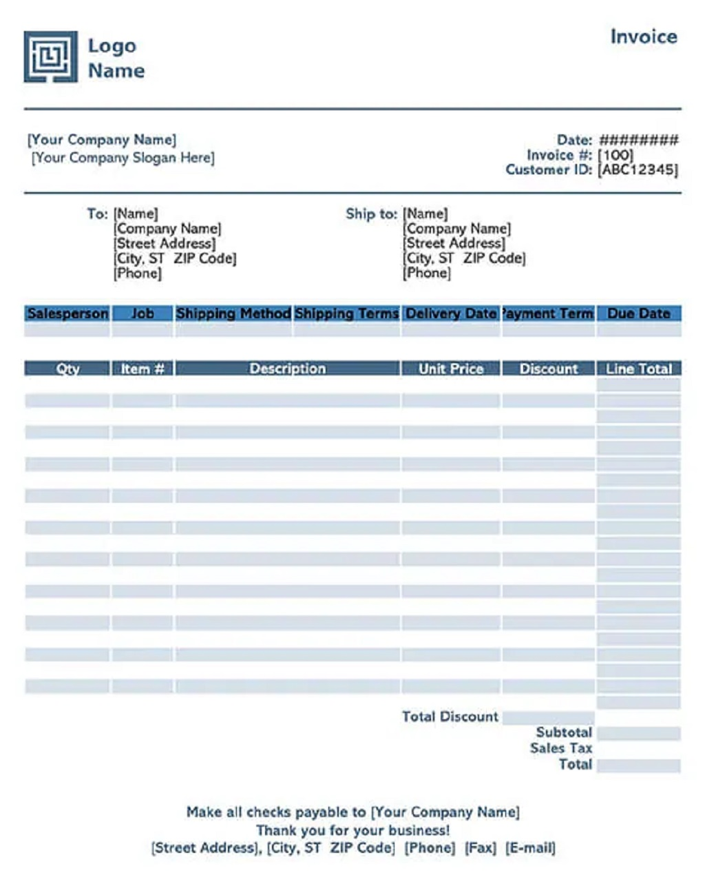 Commercial Sales Invoice Template Format Form Example Sample Excel
