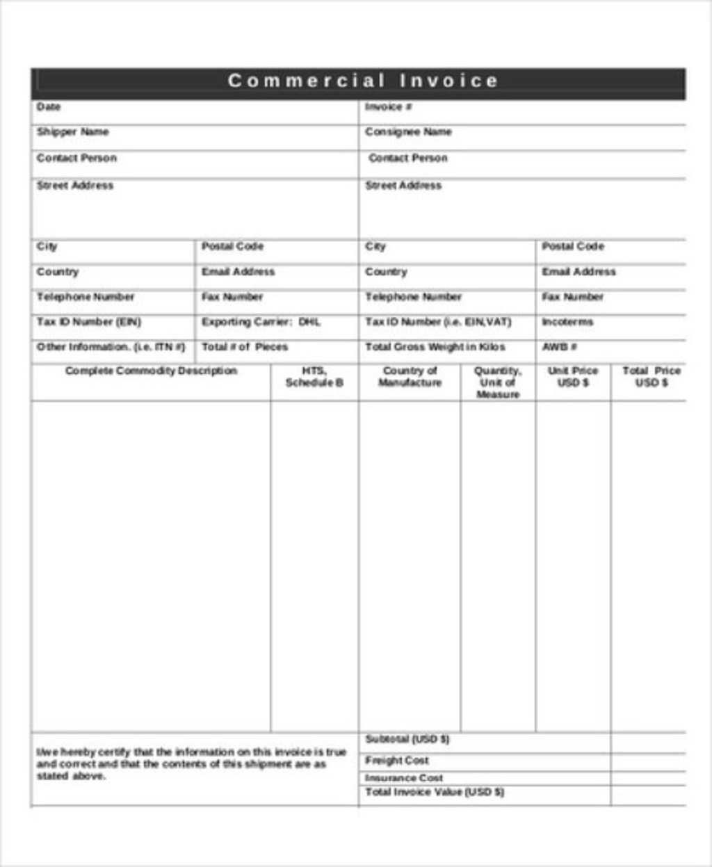DHL Commercial Shipping Invoice Template PDF Format Form Example Sample