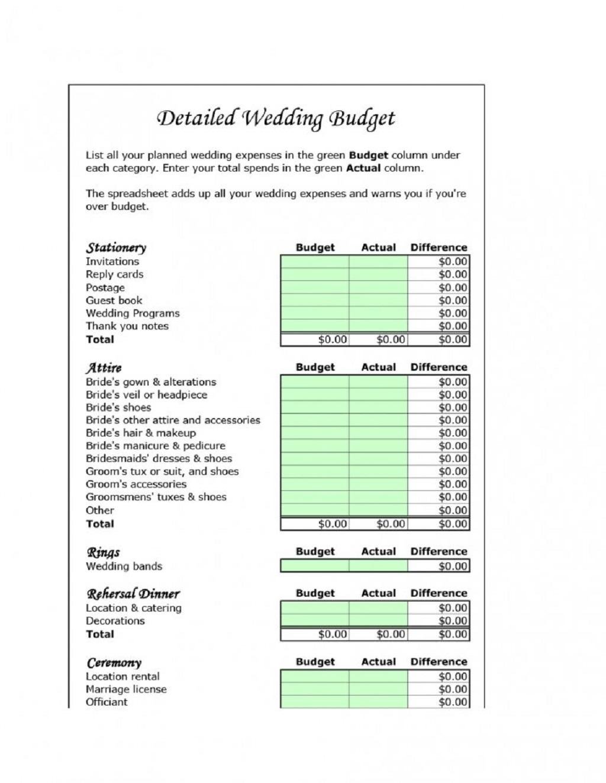 Detailed Wedding Budget Spreadsheet Template