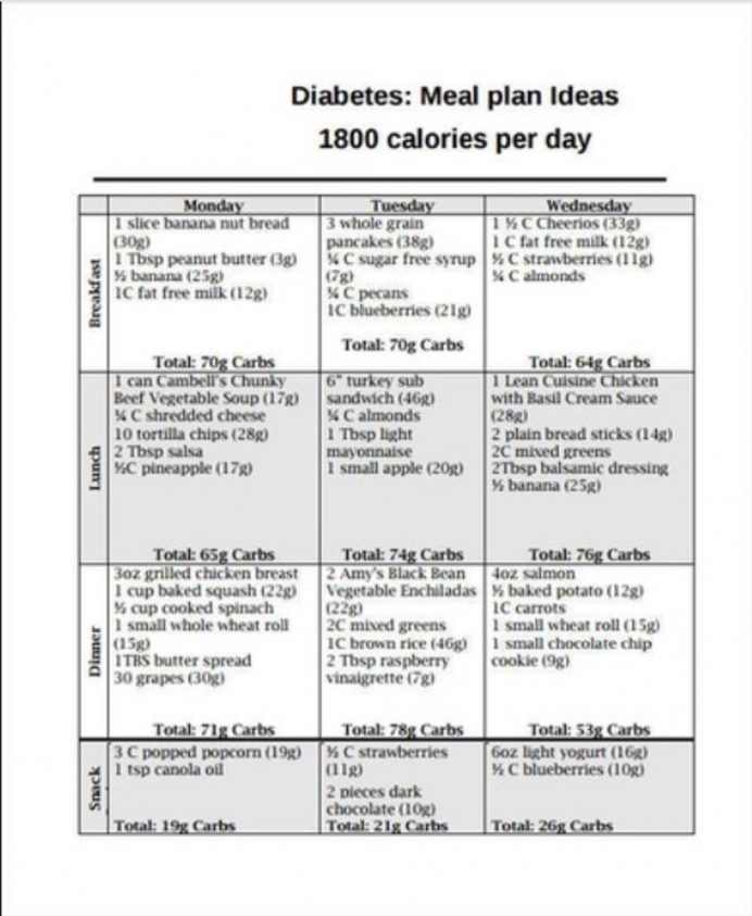 Diabetes Diet Chart Template Form Example Sample Meal Plan Food Word Charts Balanced Pdf  Samples