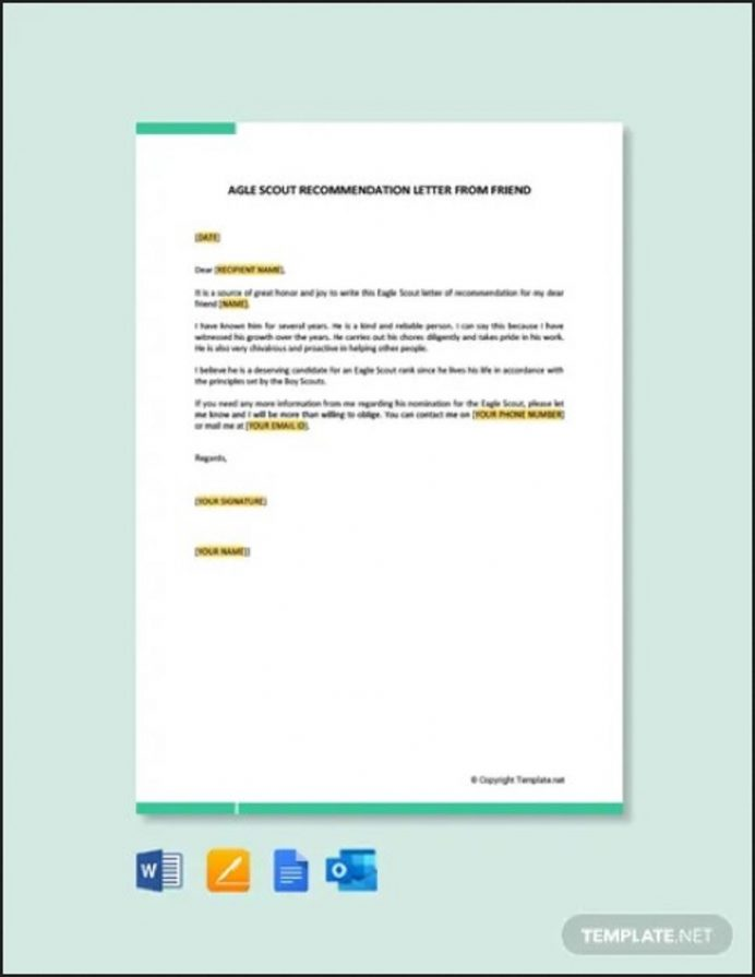 Eagle Scout Recommendation Letter from Friend Letter Eagle Scout Letter of Recommendation Template Samples
