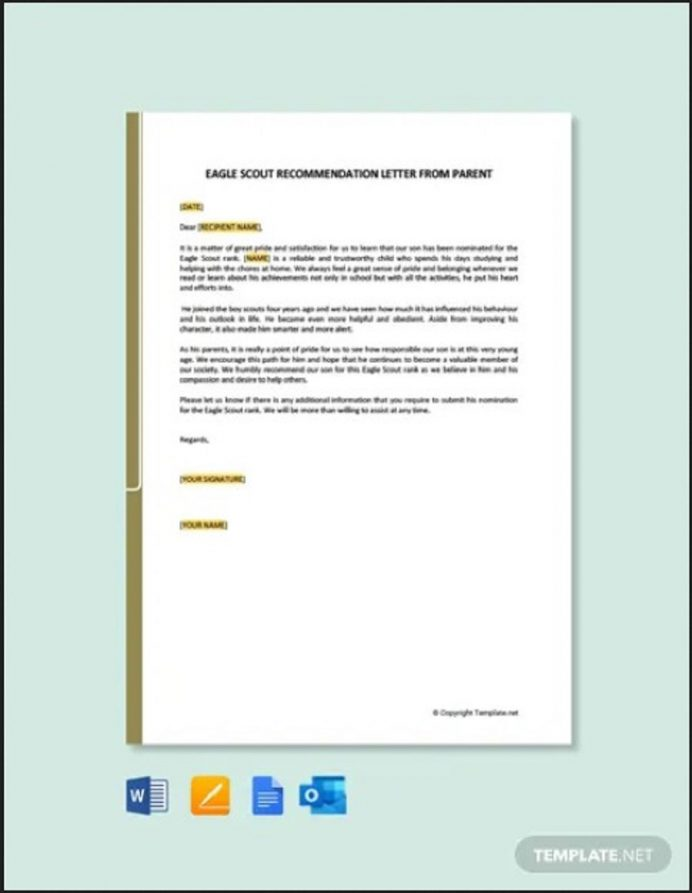 Eagle Scout Recommendation Letter from Parent Letter Eagle Scout Letter of Recommendation Template Samples
