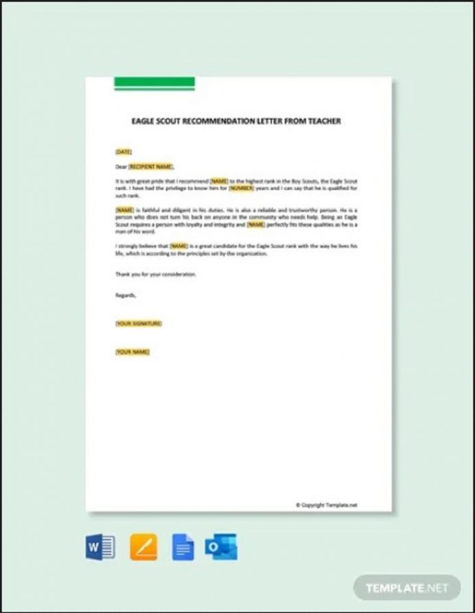 EagEagle Scout Recommendation Letter from Teacherle Scout Recommendation Letter Teacher Letter Eagle Scout Letter of Recommendation Template Samples