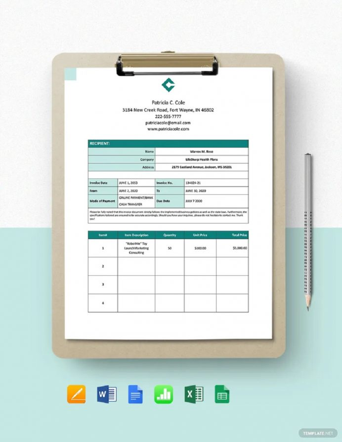 Freelance Consultant Invoice Template Example Sample Invoice Freelance Invoice Template Examples