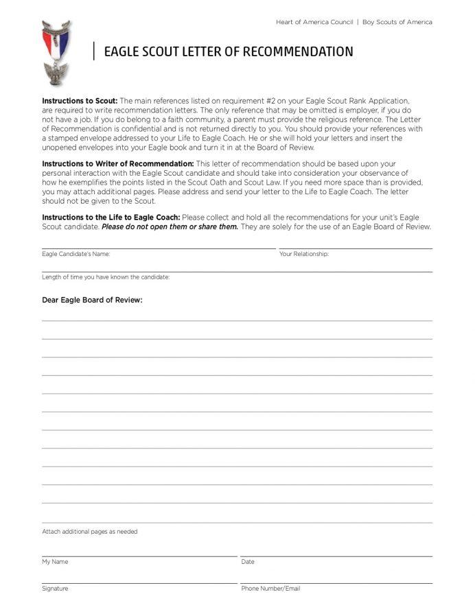 HOAC Eagle Scout Letter Recommendation Letter Eagle Scout Letter of Recommendation Template Samples