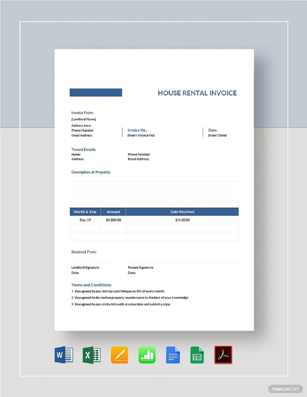 House Rent Invoice Template Format Sample Example