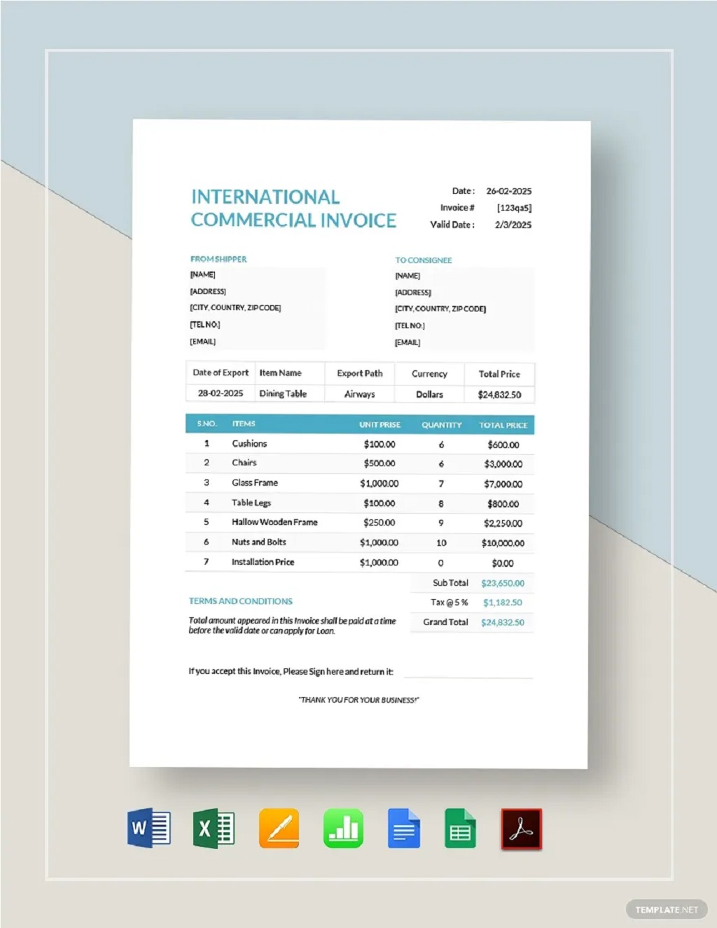 International Commercial Invoice Template Format Form Example Sample