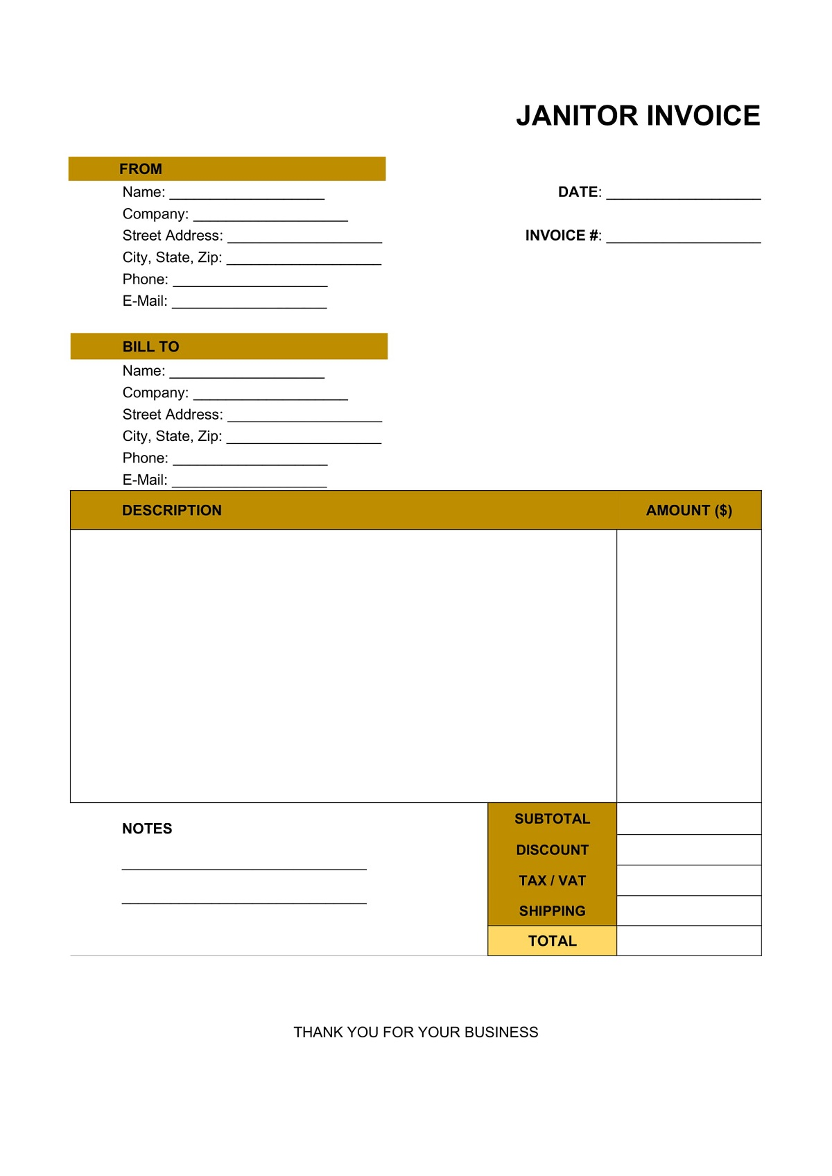 Janitor Invoice Template Excel Format