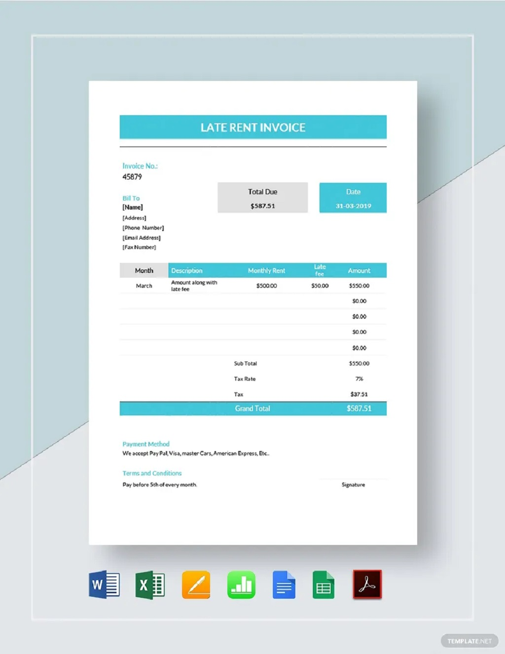 Late Rent Invoice Template Format Sample Example