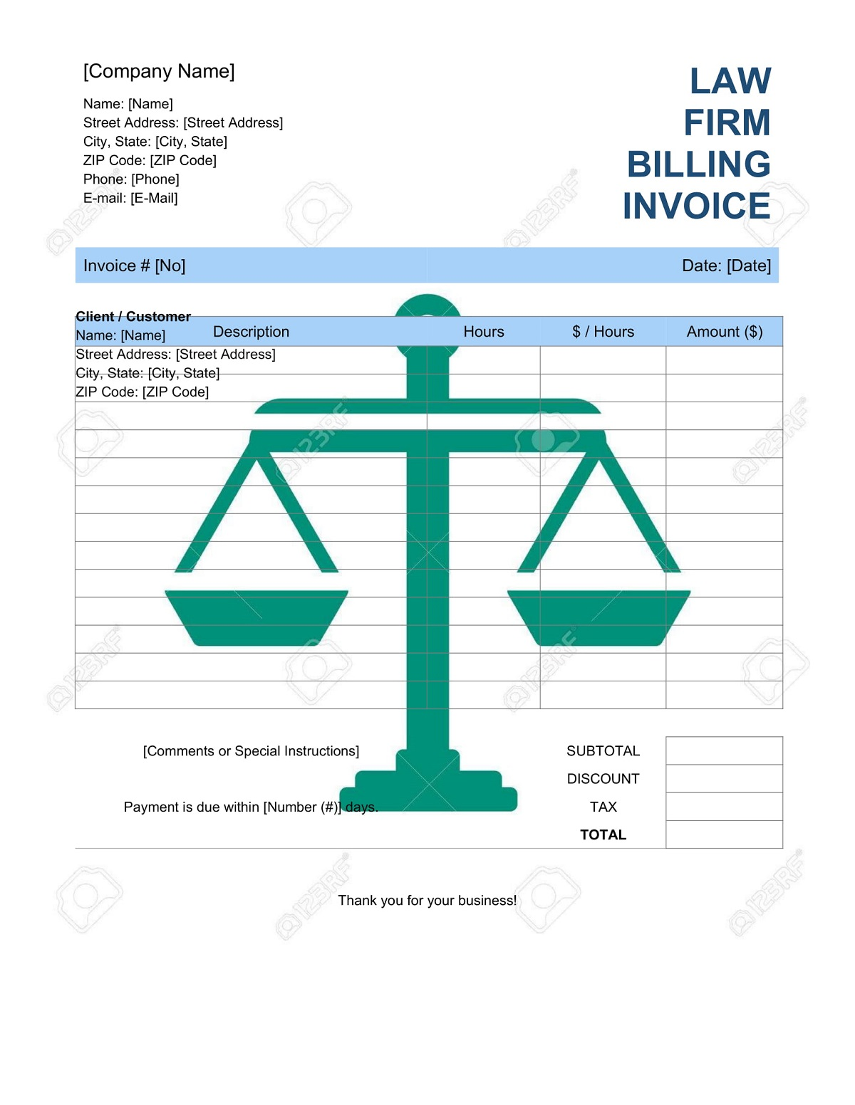 Law Firm Billing Invoice Template Word Format