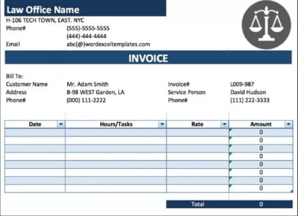 Legal Service Invoice Form