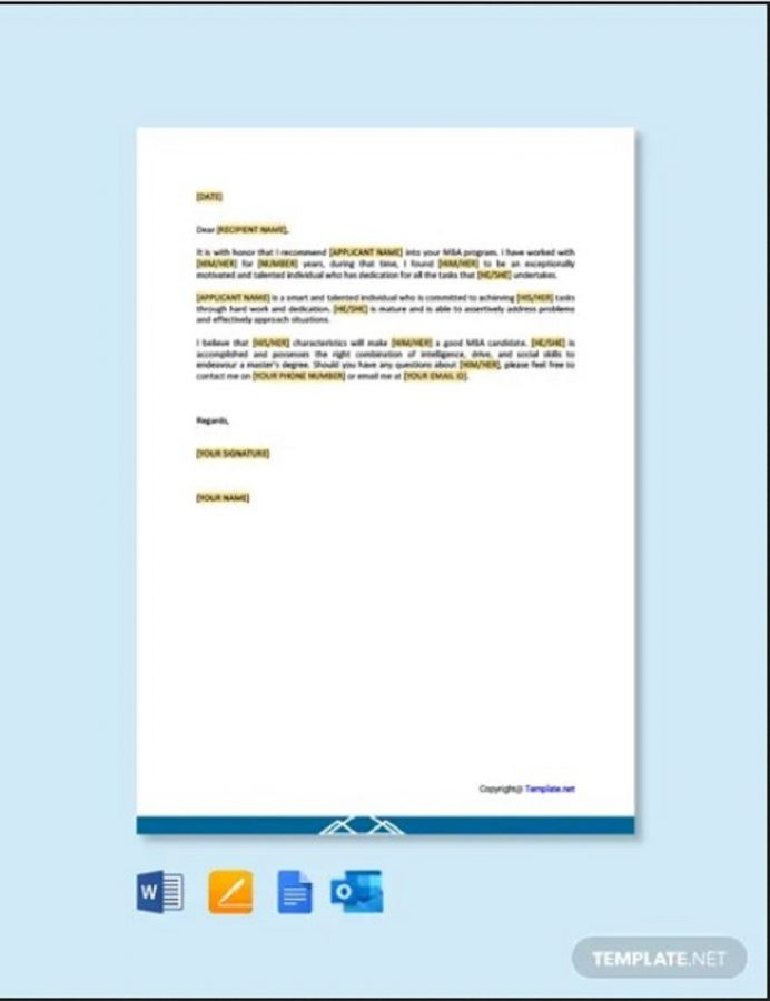 MBA recommendation letter from peer perspective Letter MBA Letter of Recommendation Template Sample