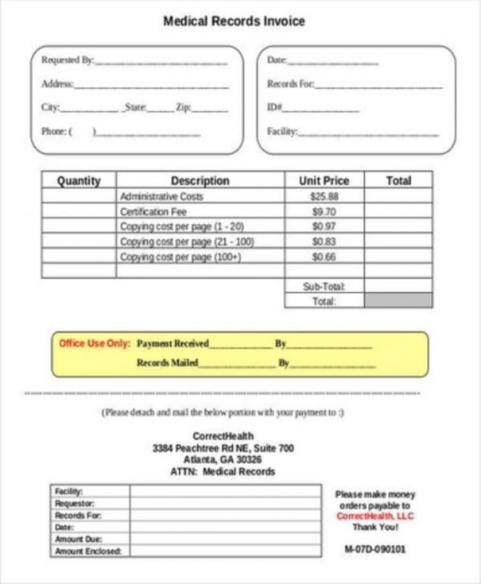 Medical Records Invoice Template Example Sample Invoice Medical Invoice Template Samples