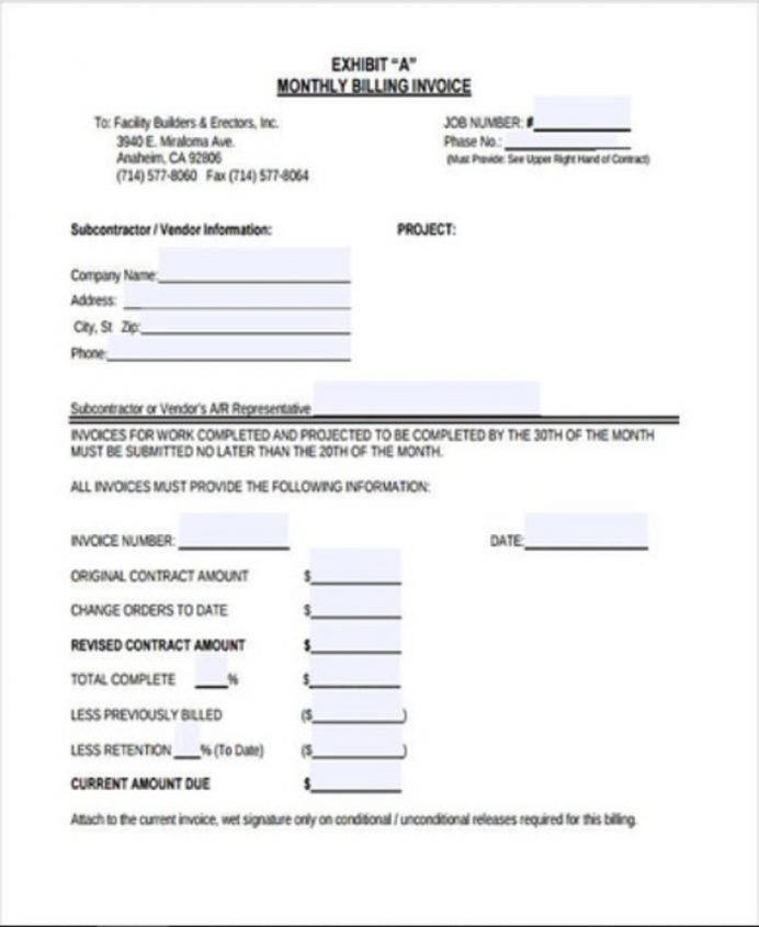 Monthly Billing Invoice Template PDF Format Invoice Billing Invoice Template Examples