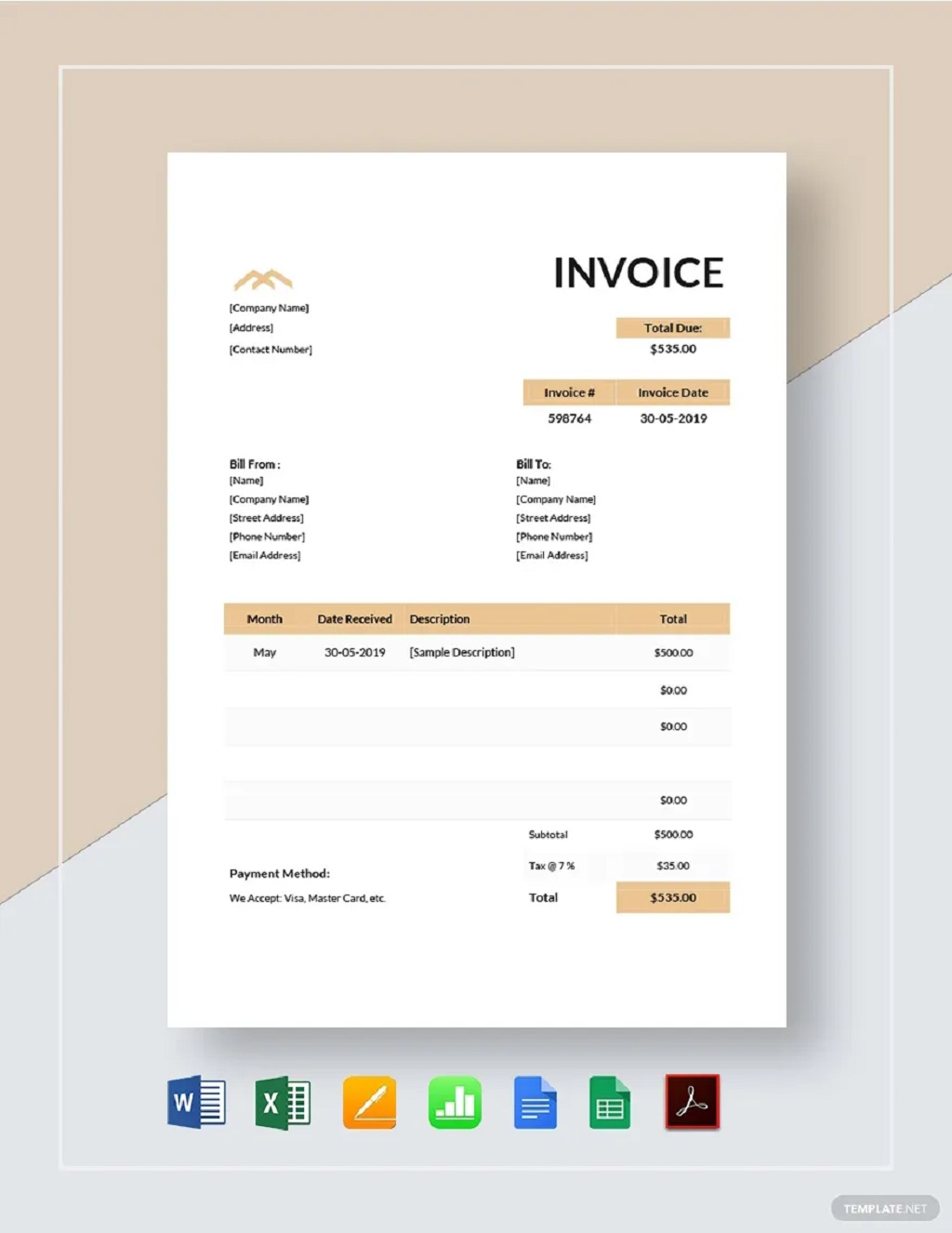Monthly Rent Invoice Template Format Sample Example