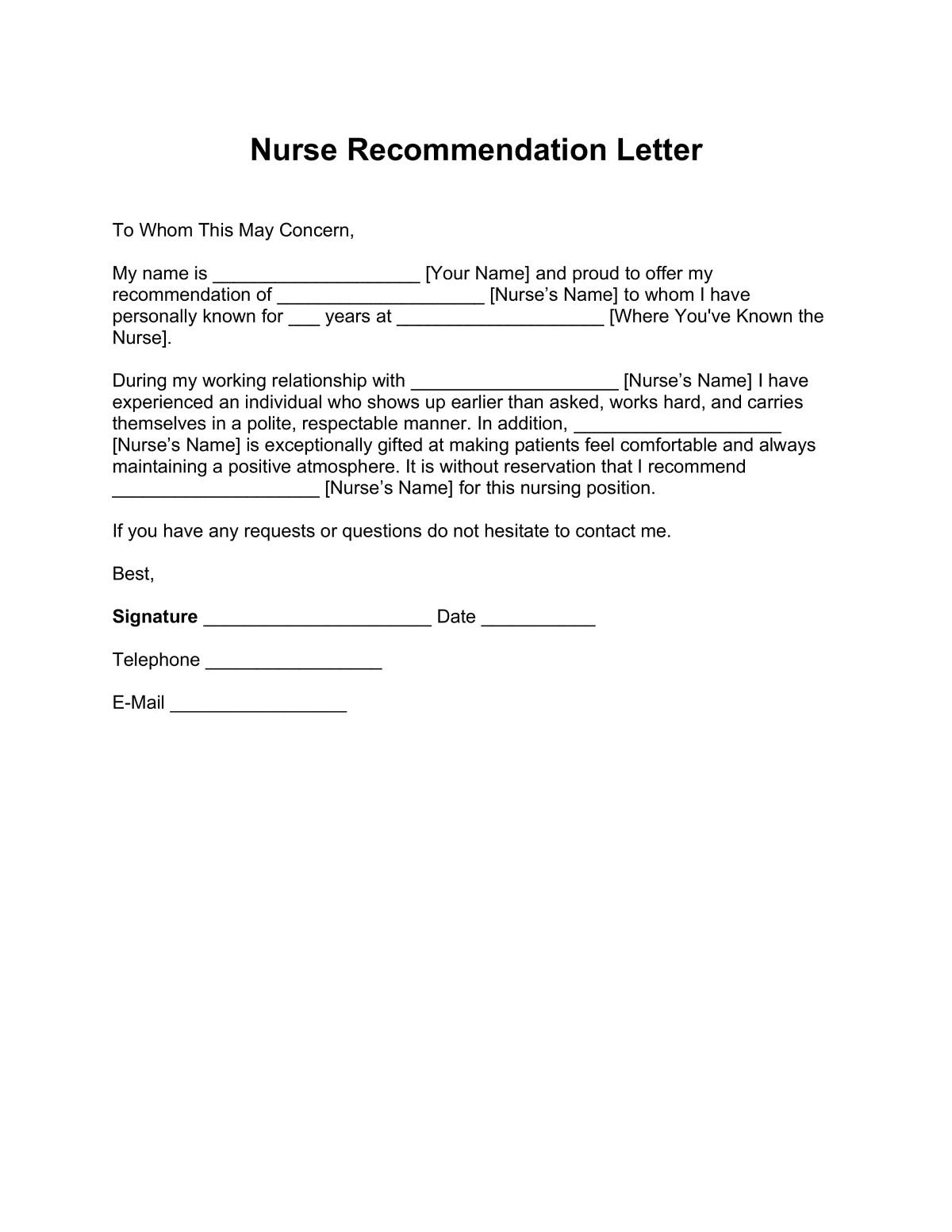 Registered Nurse Letter of Recommendation Sample